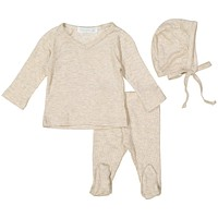 Petal & Peas Heather Oatmeal Rose Silky Soft Ribbed V-Neck Set