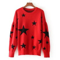 Contrast color pentagonal round collar long sleeve sweater blouse