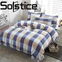 Solstice Home Textile Stylish and simple Plaid skin comfort Breathable bed linen Quilt cover Pillowcase Bedding 3/4pcs