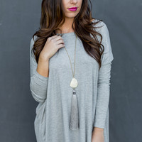 Long Sleeve Round Neck Piko Tunic in Heather Grey