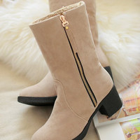 ladies square high heel short sexy boots   boot  quality footwear warm botas heels shoes P19369 size 34-43