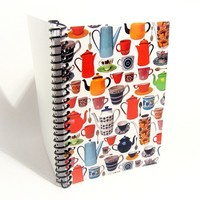 Coffee Pots and Cups - Notebook Spiral Bound - 4 x 6 in