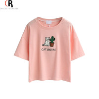 CHOIES T-shirt 2015 Short Sleeve Loose Casual Embroidery Cartoon Cat Letter Crop Top Tee Summer Pink Grey White Green