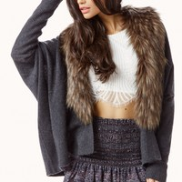 CASHMERE CARDIGAN WITH FAUX FUR COLLAR