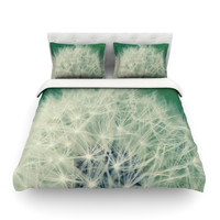 """Angie Turner """"Fuzzy Wishes"""" Green White Featherweight Duvet Cover"""