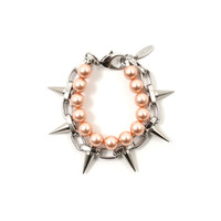 Lost Innocence Spike Bracelet W/Rose Peach Pearls - Rhodium/Rose Peach/Silver Spikes