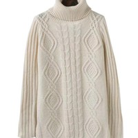 Autumn Pullovers Side Slit Long Sleeve Cable Knit Turtle Neck Casual Sweater