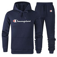 Champion Autumn And Winter New Fashion Letter Print Sports Leisure Women Men Hooded Long Sleeve Sweater Top And Pants Two Piece Suit Dark Blue