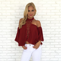 Mirage Crochet Blouse In Burgundy