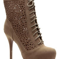 Taupe New York Laser Cut Lace Up Booties