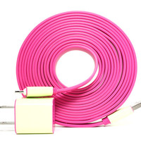 2-in-1 Glow in the Dark (Pink) XXL- 10ft long iPhone 5 Charger