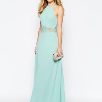 Jarlo Aden High Neck Maxi Dress With Lace Insert