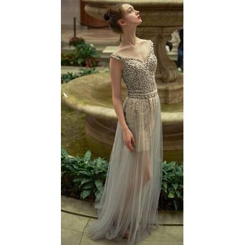 Andrea & Leo A0685 Silver Off-Shoulder Beaded Prom Gown with Tulle Overlay