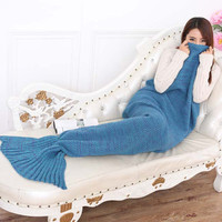 Autumn Bedding Sofa Mermaid Blanket Wool Knitting Fish Style Little Tail Blankets Warm Sleeping Child Princess Loves Gift