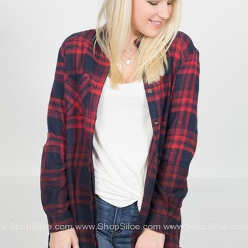 Cozy by the Bonfire Plaid Dress | Navy & Red