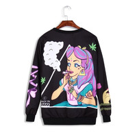 Harajuku Weed Leaf  Little Mermaid Marijuana Leaf Hoodie Winter Coat Pullovers Mermaid Tail Costume Printed Sweatshirt Tops = 1920361860