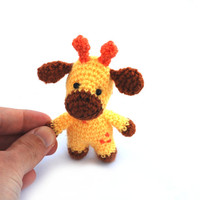 tiny giraffe, miniature animal doll, small toy for children, funny cute handmade gift, crochet giraffe, amigurumi giraffe little stuffed toy