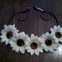 Ivory Sunflower Headband, Flower Crown, Flower Halo, Festival Wear, EDC, Ultra Music Festival, Ezoo, Coachella