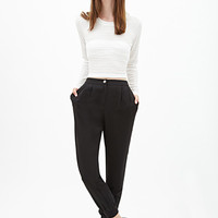 FOREVER 21 Woven Chino Joggers Black
