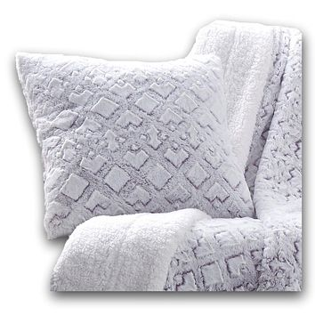 DaDa Bedding Embossed Faux Fur Euro Throw Pillow Cover, Dreamy Milky Way White & Purple (M3395)