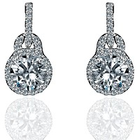 0.75 CT. TW Intensely Radiant Round Diamond Veneer Cubic Zirconia Solitaire Post Sterling Silver Earrings 635E15718