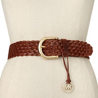 MICHAEL Michael Kors Belt, Braided with Logo Charm - Belts - Handbags & Accessories - Macy's