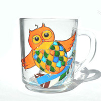 Hand painted mug - owl surfer- Unique artistic gift - Dinner - Parties- cup - surfer- summer
