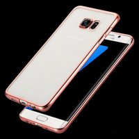 Luxury Gliiter Rose Plating Hard PC Case For Samsung Galaxy S7 / S7 edge Bling Plated Frame + Transparent Plastic Girly Cover