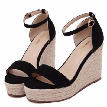 Cute Casual Ankle Strap Sandal Platform Wedges