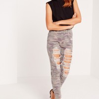 Missguided - Riot High Rise Ripped Camo Slim Leg Jeans Khaki