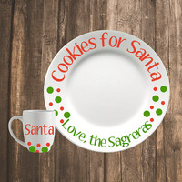 Christmas Cookie Plate   Cookies for Santa   Personalized Christmas Plate