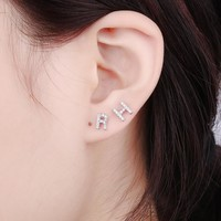DUOYING 1PC Personalized A-Z Letter Stud Earrings Initial YOUR NAME Earrings Mirco Pave Rhinestone 925 Silver Earrings For Women
