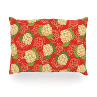 """Holly Helgeson """"Cammelia"""" Red Yellow Oblong Pillow"""