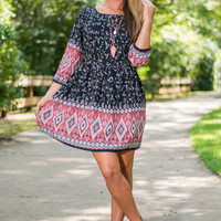 Aztec Garden Dress, Black