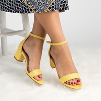 Block Heel Sandal Yellow