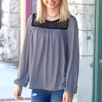 Houndstooth + Lace Long Sleeve Blouse {Black+White}