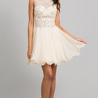 Short Sleeveless Jewel Embellished Dress