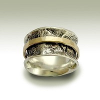 Wedding band  Sterling silver band with gold filled by artisanlook