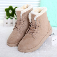 Fashion Winter Women Flat Lace-Up Warm Snow Ankle Boots = 1946284356