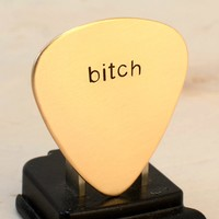 Bitch Guitar Pick in Bronze for a Riot Girl