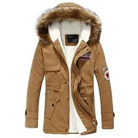 Cotton Padded Mid-length Fur Hooded Coat