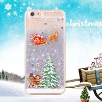 Christmas Cover For iPhone Cute Santa Claus Glitter Case 5 5S 6
