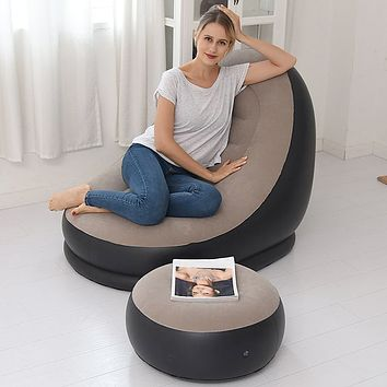 Inflatable Chair with Foot Rest Bean Bag Couch Set Large