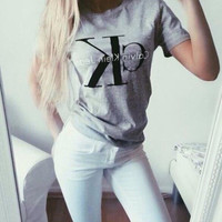 Casual Letters Printed  T-Shirt