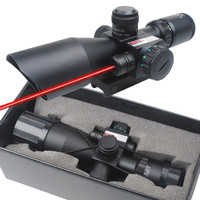 2.5-10x40 Tactical Rifle hunting Gun Optical Scope Mil-dot Dual illuminated with Red Laser & Mount
