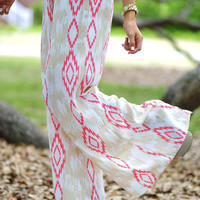Cute In Ikat Pants: Tan/Coral | Hope's