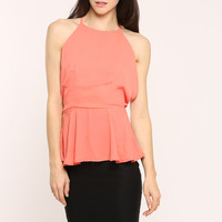 Sleeveless Cut Out Woven Top