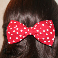 Red and White Polka Dot Clip on Hair Bow
