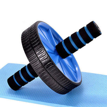 Dual Ab Wheel for Abs / Abdominal Roller Workout Exercise Fitness Blue HOT AU CB