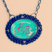 Patina colors Hand Painted Necklace   Bicycle  Original